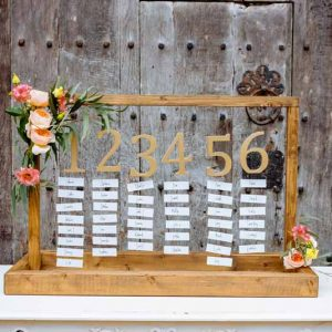 rustic-glamour-wedding-table-plan-decorated-with-pretty-blooms-by-Passion-for-Flowers