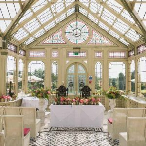 wedding ceremony flowers Kilworth House luxe wedding urns and statement flowers in Orangery (3)