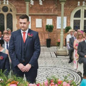 wedding ceremony flowers Kilworth House luxe wedding urns and statement flowers in Orangery (4)