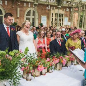 wedding ceremony flowers Kilworth House luxe wedding urns and statement flowers in Orangery (5)