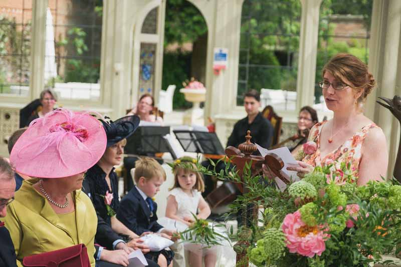 wedding ceremony flowers Kilworth House luxe wedding urns and statement flowers in Orangery (7)