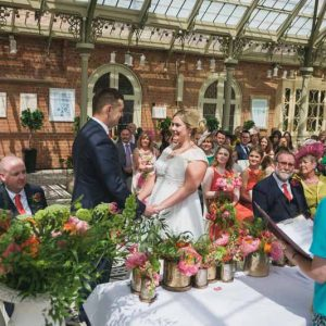 wedding ceremony flowers Kilworth House luxe wedding urns and statement flowers in Orangery (8)