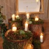 tree stumps logs for rustic wedding ceremony with candles