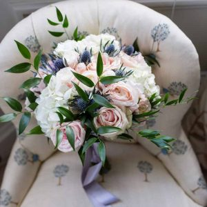 Gorgeous dusky pink and blue bridal bouquet by Passion for Flowers