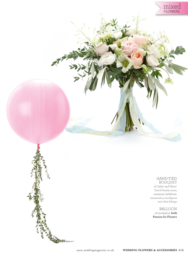 large round balloon with foliage trail for weddings pink white wedding bouquet featured in wedding flowers magazein by passion for flowers