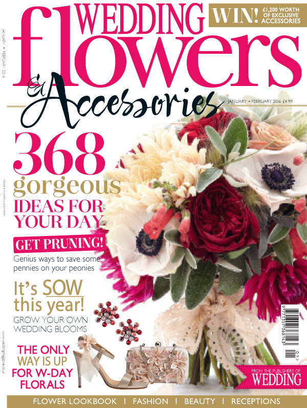 wedding flowers and accessories magazine logo front cover jan feb 2016