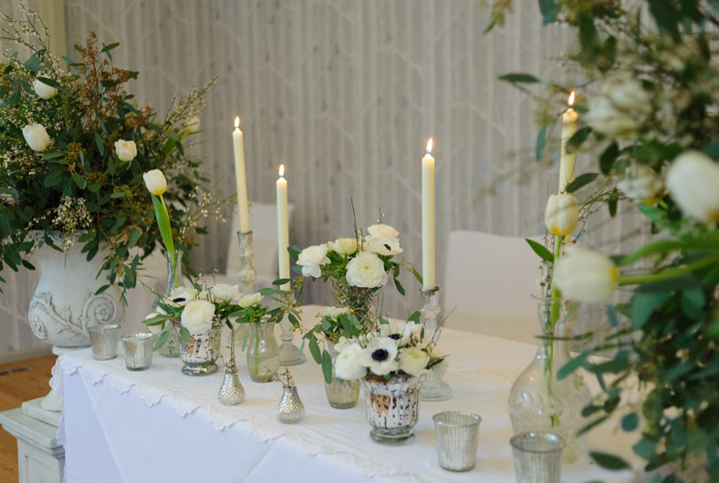 elegant spring wedding ceremony flowers for ceremony table by @kmorganflowers Passion for Flowers at Hampton Manor