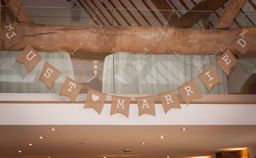 just married bunting made from hessian - you can buy this from @theweddingomd