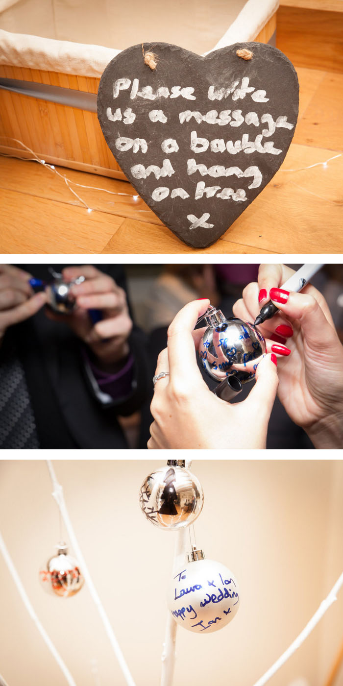 winter wedding guest book idea - write your message on a bauble and hang it on our tree