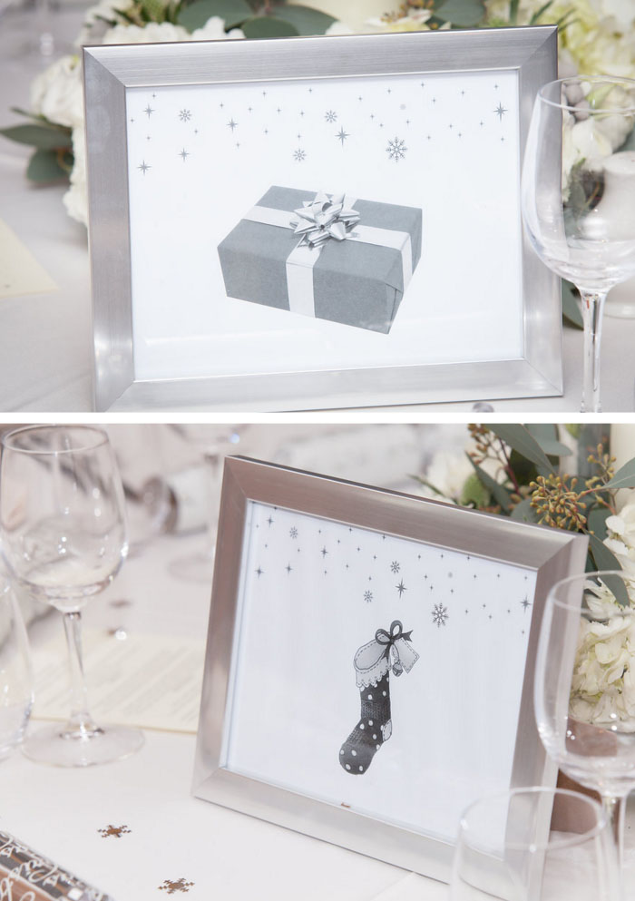 winter wedding table name ideas - frame christmas sketches and name each table after christmas items such as presents, stockings, christmas tree, star