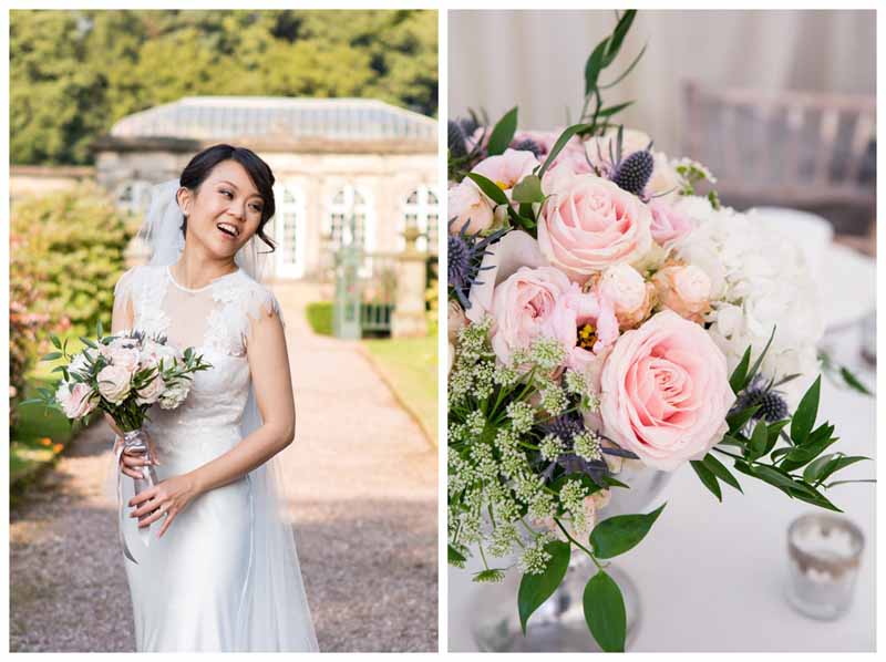 Stunning blush pink and teal bouquet by @kmorganflowers Passion for Flowers