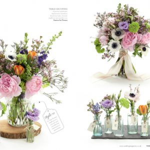 Spring-summer-wedding-flowers-including-bouquet-centrepiece-featured-in-Wedding-Flowers-Magazin