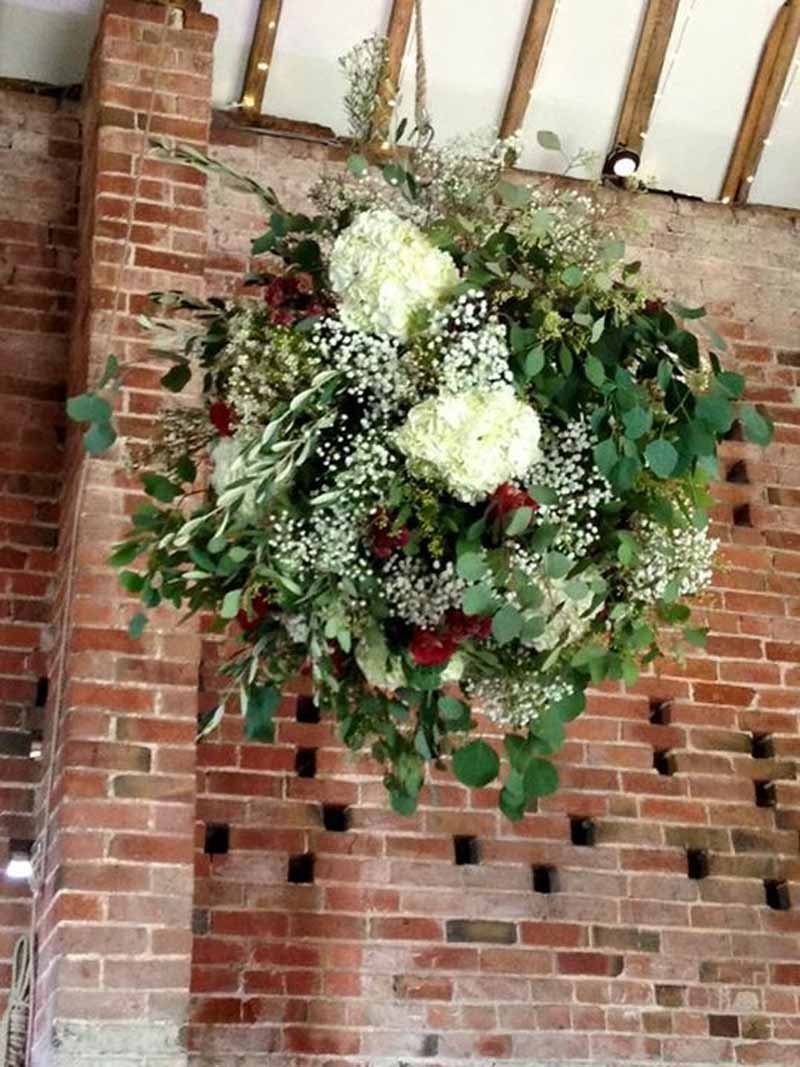Giant hanging flower globes at Shustoke Farm Barns by @kmorganflowers Passion for Flowers