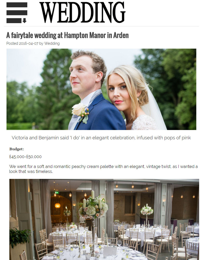 Hampton Manor wedding by Passion for Flowers featured on Wedding Magazine website