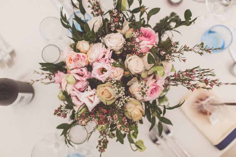 Pink blush pink dusky pink florals for wedding centrepieces