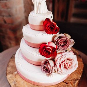 Roses on a naked cake - rustic elegant wedding at Shustoke Farm Barns by @kmorganflowers (1)