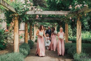 White hydrangea bouquets for bridesmaids with dusky pink dresses. Perfect flowers for a summer wedding by @kmorganflowers