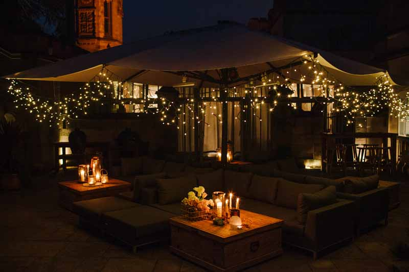 Hampton Manor outdoor seating area styled by Passion for Flowers