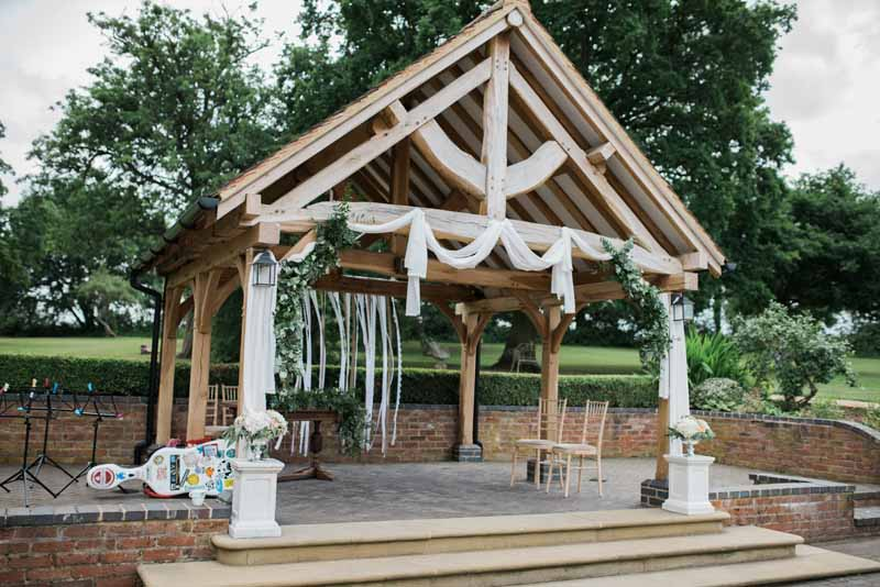Outdoor ceremony Wethele Manor Wedding - drapes and flowers by @kmorganflowers