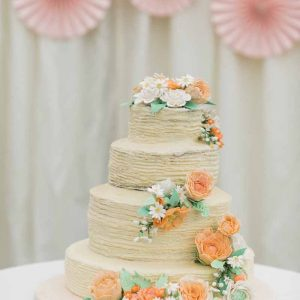 Peach rose wedding cake