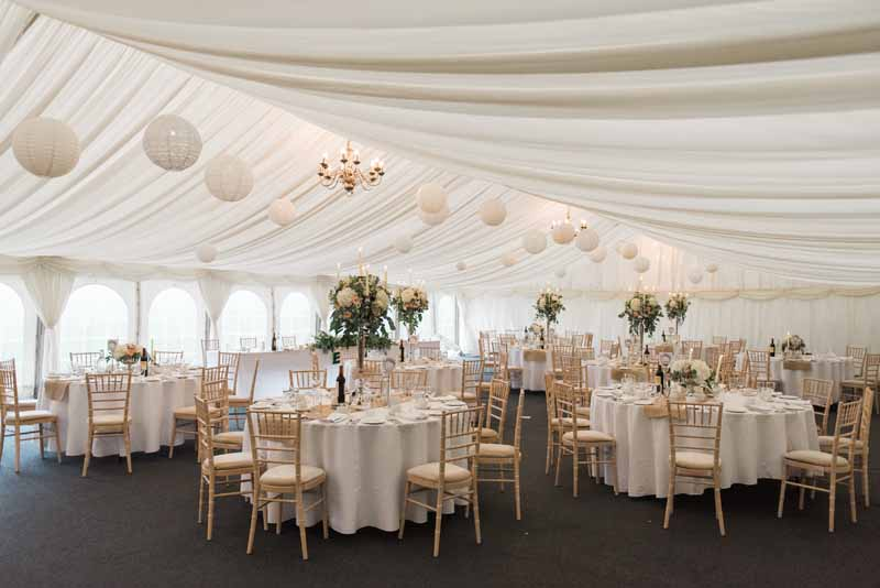 Summer marquee wedding decorations at Wethele Manor