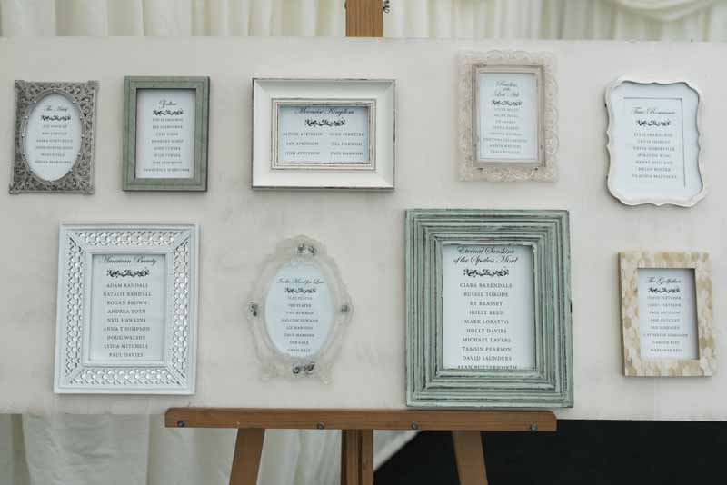 Table plan made using different sized picture frames - fab idea