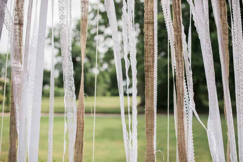 Wedding ceremony backdrops ribbons lace hessian burlap