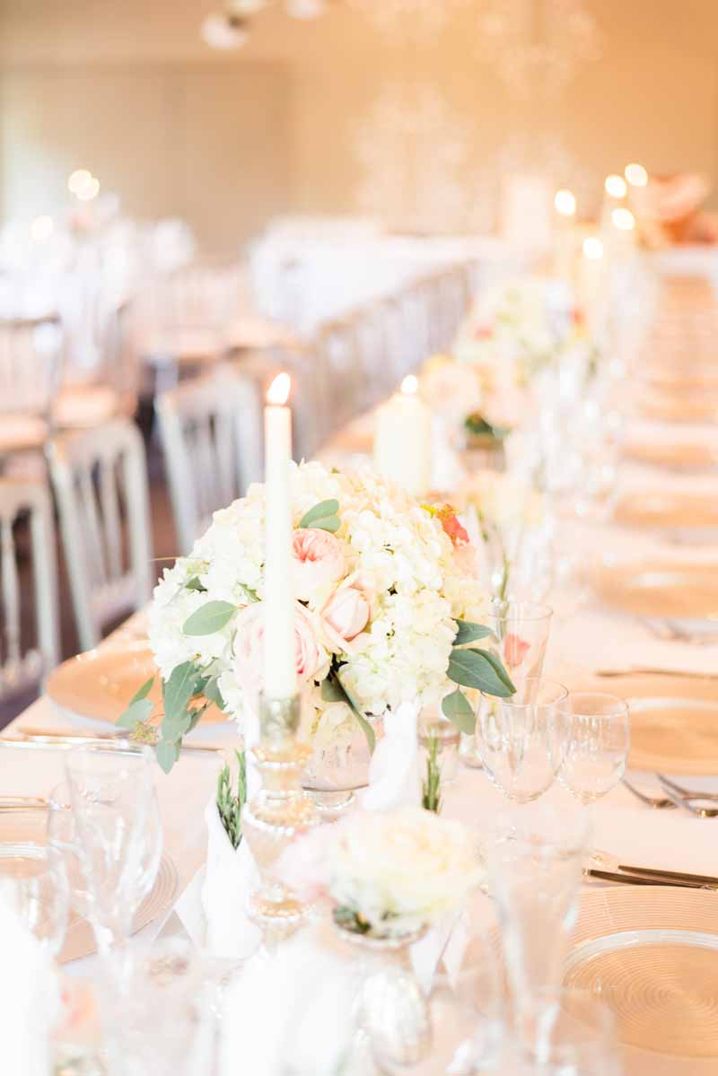 elegant centrepieces for long wedding tables by passion for flowers @kmorganflowers