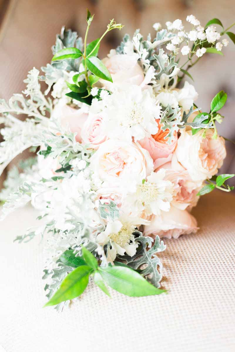 elegant wedding flowers peach and grey bridal bouquet