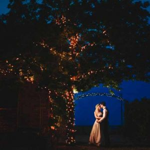 lights on trees at weddings evening photographs curradine barns