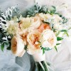 peach and grey bridal bouquet by passion for flowers @kmorganflowers