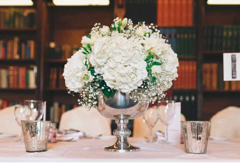 Silver-footed-bowls-with-hydrangeas-centrepieces-Ettington-Park-Wedding-Flowers
