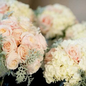 Blush pink roses and grey dusty miller foliage for bridal bouquets by Passion for Flowers @kmorganflowers