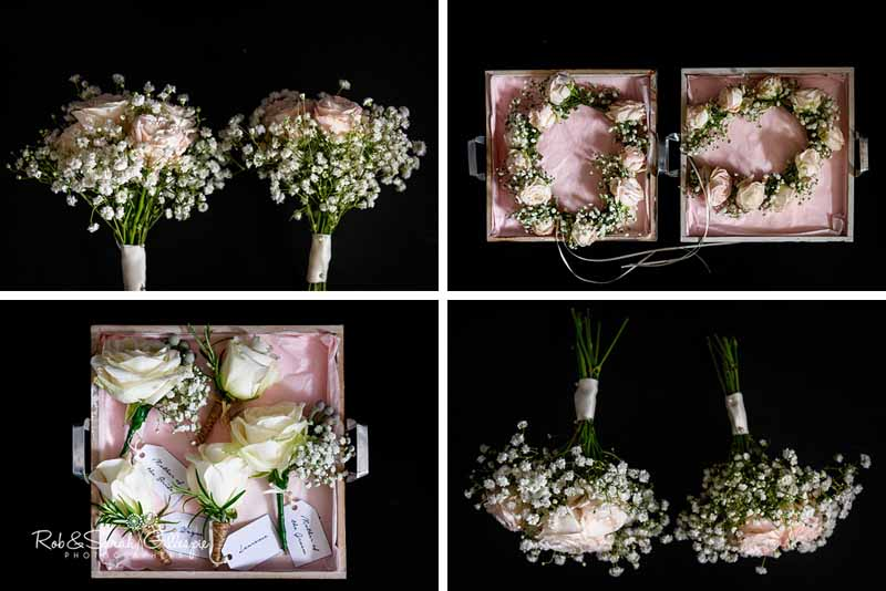 Bridesmaids bouquets and flower crowns roses and babys breath by @kmorganflowers