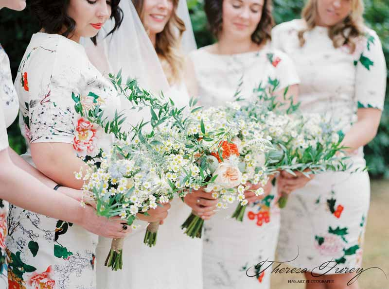 Bright brideamids bouquets with floral bridesmaids dresses orange yellow and green by Passion for Flowers @kmorganflowers