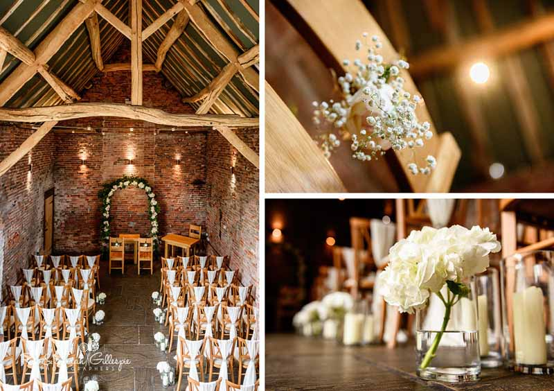 Cremony decorations hydrangeas aisle decorations floral arch at Packington Moor