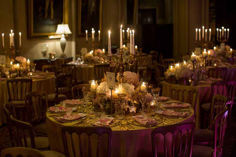 Belvoir Castle Wedding Flowers -Luxe-Gold-Candelabra Wedding Centrepieces at Belvoir Castle by @kmorganflowers Passion for Flowers