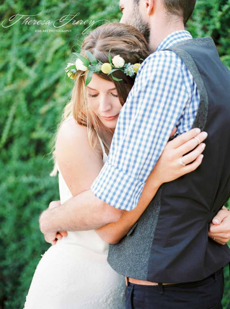 Relaxed garden wedding ideas flower crown for bride casual shirt and waistcoat for groom