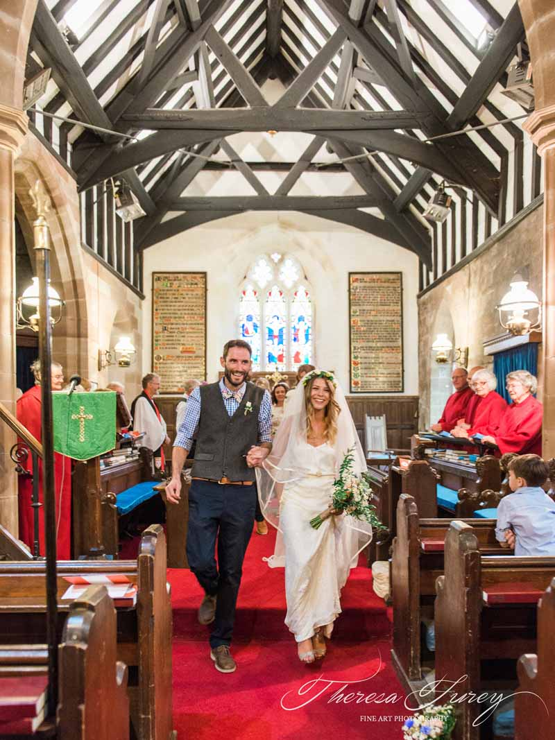 Relaxed summer wedding in country church