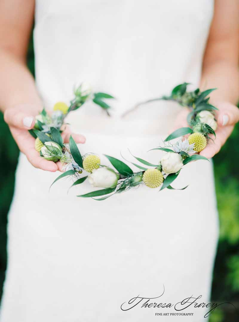 Yellow And Green Flower Crown For Bright Summer Wedding In Garden Marquee Craspedia Billy Balls
