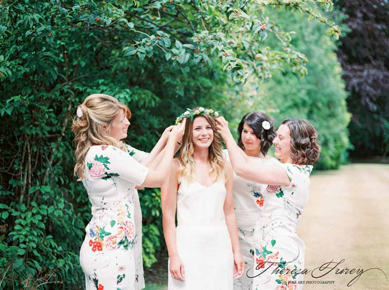 Yellow and green flower crown for bright summer wedding in garden marquee craspedia yellow billy balls cream rose buds and soft ruscus