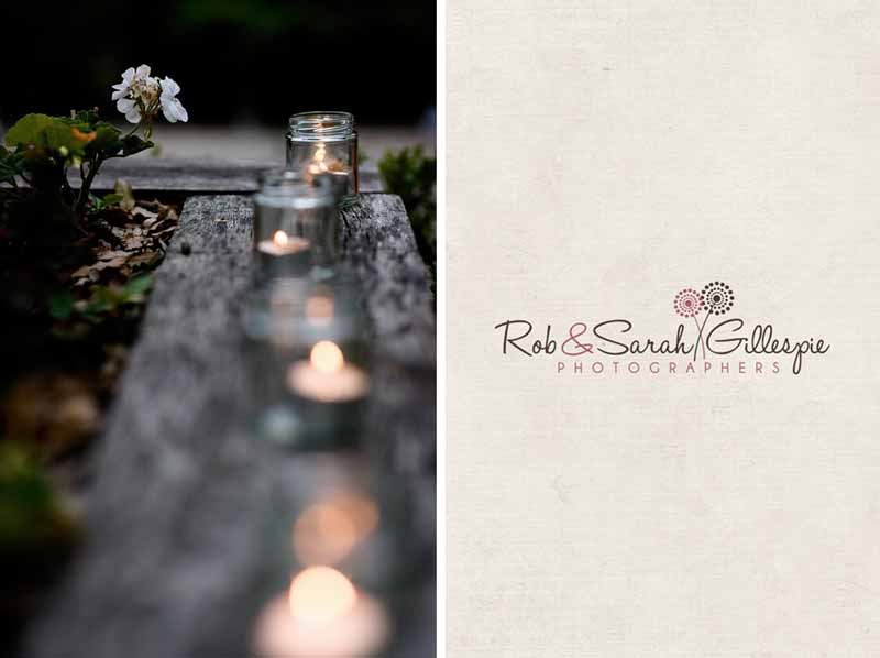 candles in jam jars as tea lights for outdoor wedding lanterns shown here at Packington Moor (2)