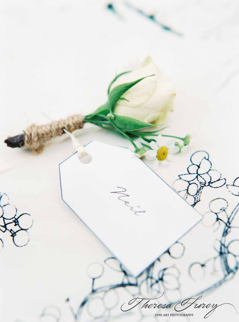 cream rose bud button holes tied with twine for rustic summer wedding by Passion for Flowers @kmorganflowers