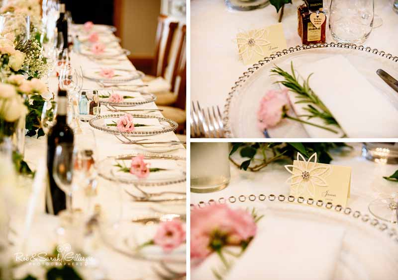 lisianthus flowers and rosemery place settings on napkins