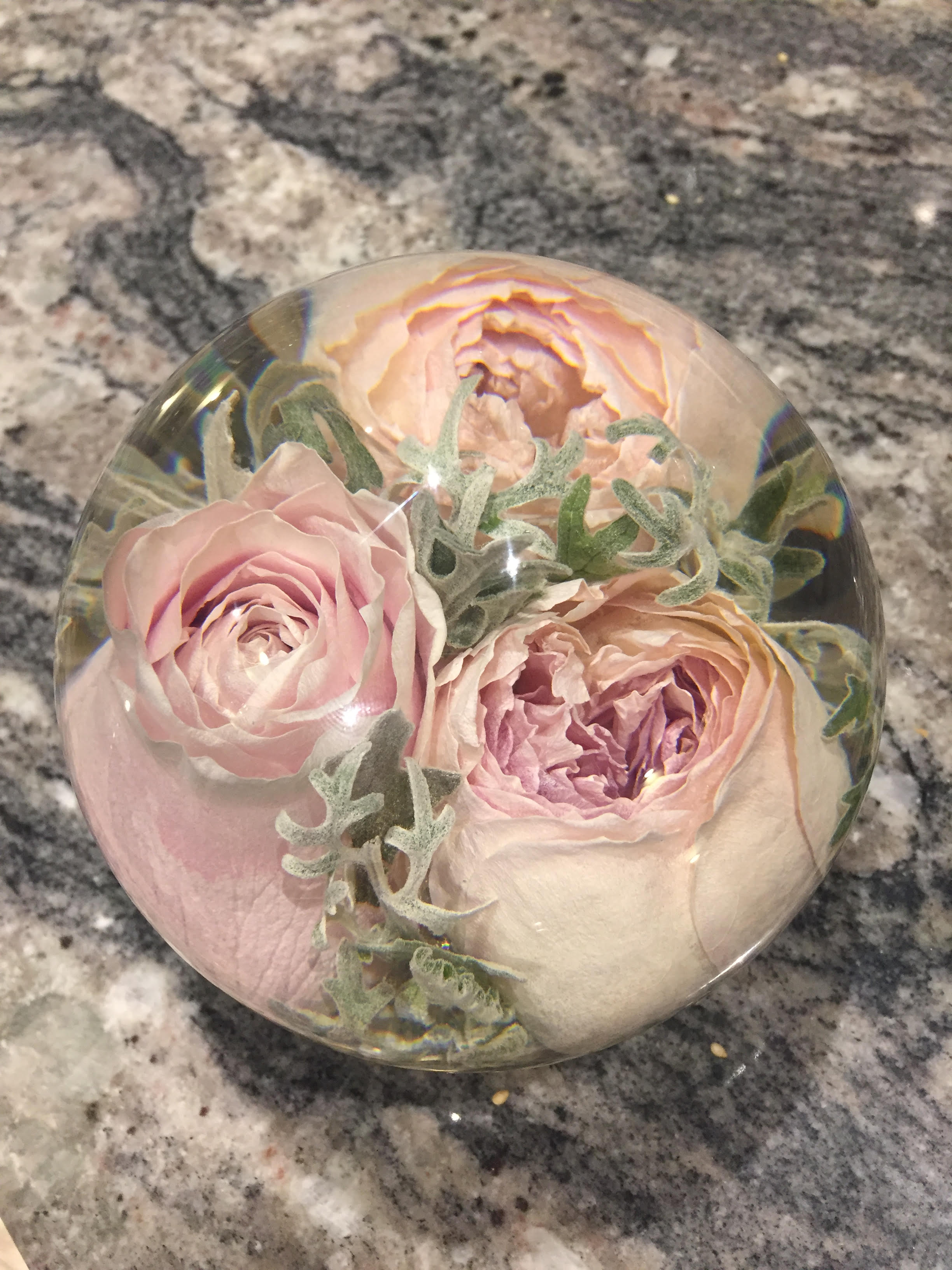Bridal bouquet preserved in beautiful paper weight - Flower Preservation Workshop