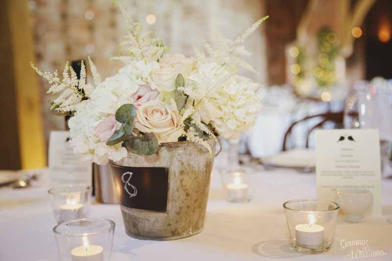 Blackboard-centrepieces-with-beautiful-hudrangeas-roses-and-astilbe-at-Shustoke-Farm-Barns