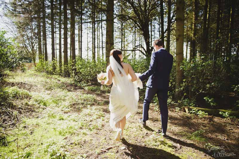 Bride-and-groom-outside-woodland-wedding