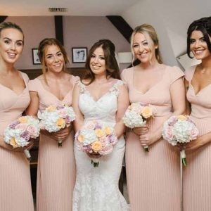 bridesmaids-bouquets-hydreanges-and-roses-blush-pink-dresses