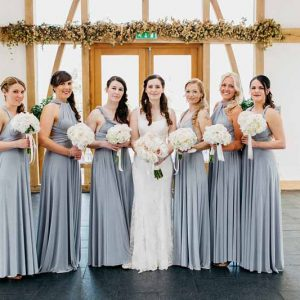 white-rose-and-hydrangeas-bouquets-silver-grey-bridesmaids-dresses