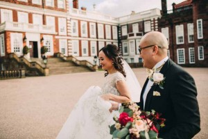 bride-and-groom-portraits-knowsley-hall-deep-pink-burgundy-wedding-bouquet-2